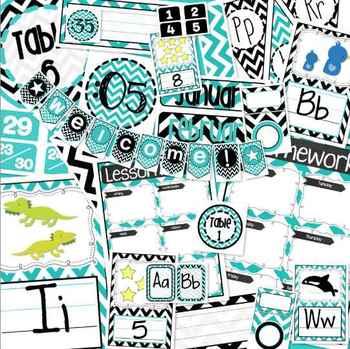 Special Listing Black, White, & Turquoise Blue Chevron Classroom Bundle