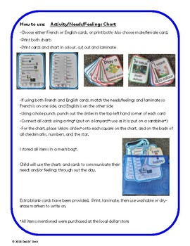 Special Needs Communication Cards and Charts | French and English