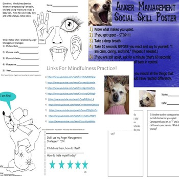 Anger Management  Rescue Dogs' Social Skill Worksheets Packet