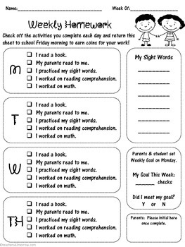 Special Needs Weekly Homework Checklist