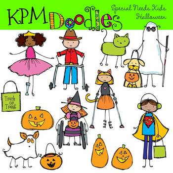 Kids Trick-or-Treating on Halloween Clip Art Image