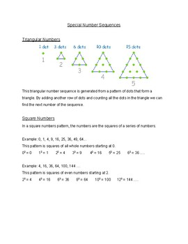Special Number Sequences