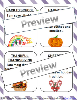 Special Occasions Writing Prompts for Intermediate Students