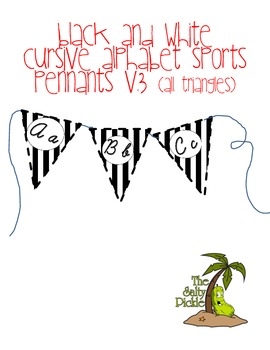 Special Order- Black and White Cursive Alphabet Sports Pennants
