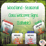 Seasonal Woodland - Welcome Signs for your classroom! (Editable)
