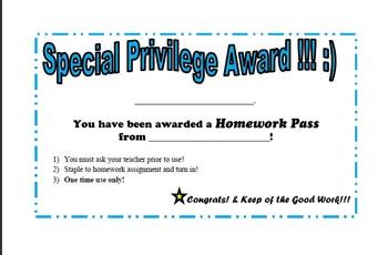 Special Priviledge Award - Homework Pass