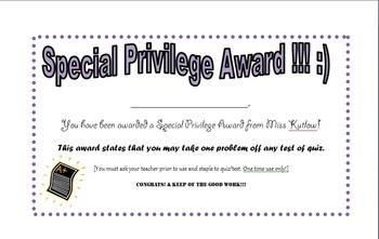 Special Priviledge Award - Testing Incentive