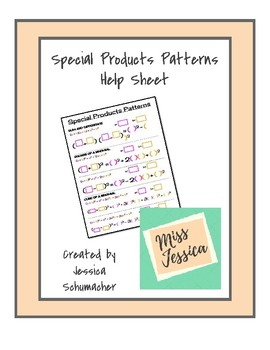 Special Products Patterns Help Sheet