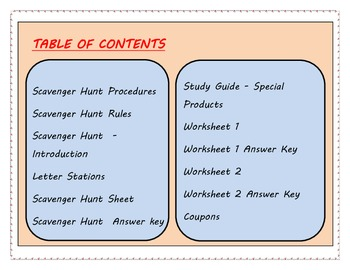 Special Products - Scavenger Hunt Plus Worksheets & Study Guide
