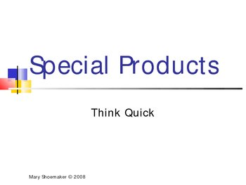 Think Quick PowerPoint: Special Products