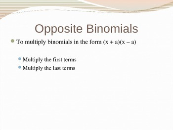 Special Products of Polynomials