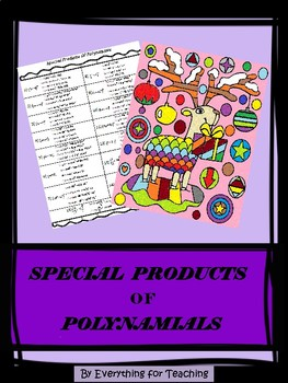 Special Products of Polynomials (Binomials) - Coloring Activity