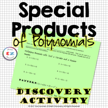 Special Products Of Polynomials Discovery Investigation By Ez Math