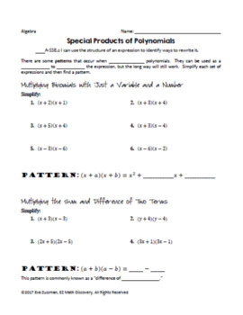 Special Products of Polynomials - Discovery Investigation