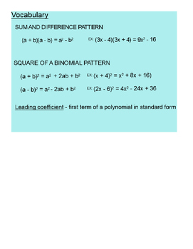 Special Products of Polynomials SmartBoard Lesson