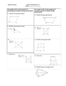 Special Quadrilaterals Quiz