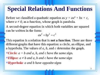 Special Relations And Functions. Circle