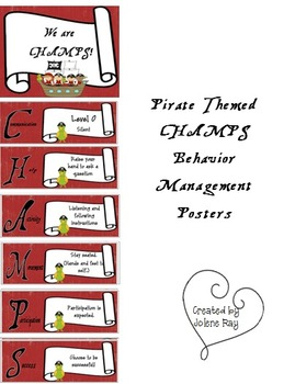 Special Request CHAMPS Behavior Management Posters Pirate Themed