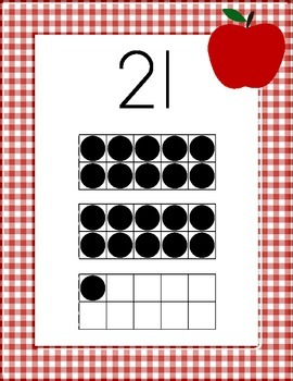 Red Apple Gingham Number Posters With Ten Frames, 21-30