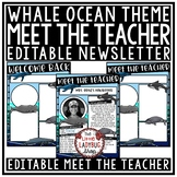 Whale Meet the Teacher Template Editable Back to School Night Open House Form