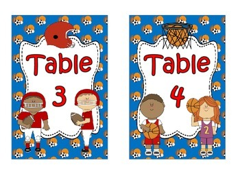 Special Request ~ Sports Table Numbers