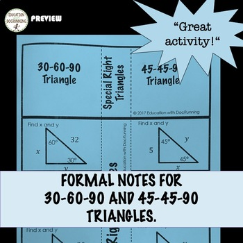 Special Right Triangle Inquiry and  Interactive Notebook for Geometry