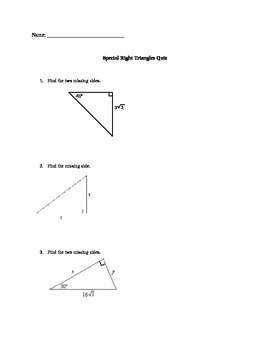 Special Right Triangle Quiz/Worksheet