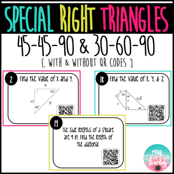 Special Right Triangle Task Cards (45-45-90 & 30-60-90)