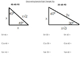 Special Right Triangle Trig Notes and Flashcards