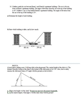 Special Right Triangle & Trig Test