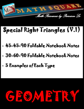 Special Right Triangles - Foldable Notes and Examples