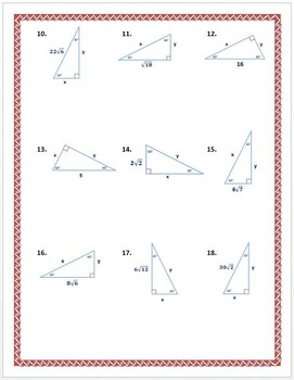 special right triangles 30 60 90 practice worksheet by dr pepper lover. Black Bedroom Furniture Sets. Home Design Ideas