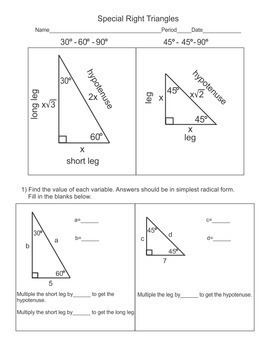 Special Right Triangles 30-60-90 and the 45-45-90