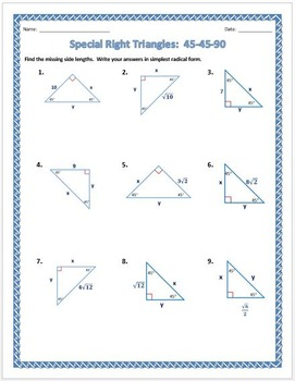 30-60-90 Triangle Worksheet with Answers | Worksheet Resume
