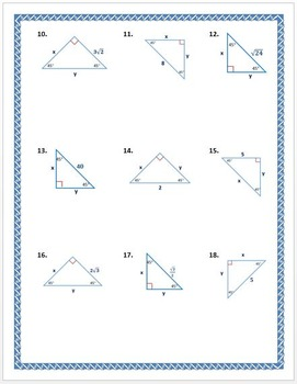 45 45 90 triangle worksheet