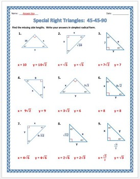 Special Right Triangles: 45-45-90 Practice Worksheet by Dr Pepper Lover