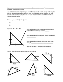 Special Right Triangles: 45-45-90 and 30-60-90