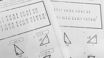Right Triangles - Special Right Tris. Notes, Practice, Task Cards, Riddle BUNDLE