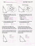Special Right Triangles - Answer Key
