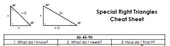Special Right Triangles Cheat Sheet