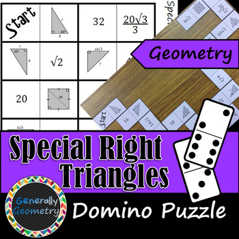 Special Right Triangles Domino Puzzle; Geometry