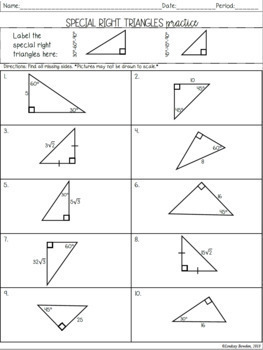 Special Right Triangles Guided Notes & Worksheets