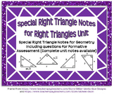 Special Right Triangles Guided Notes for Right Triangles U