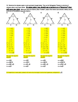 Special Right Triangles Investigation-Isosceles Right & 30-60-90 Triangles-w/Key