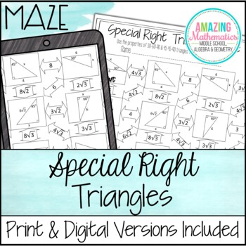 Special Right Triangles Maze by Amazing Mathematics | TpT