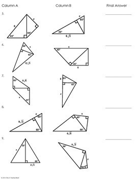 multi step special right triangles partner worksheet by mrs e teaches math. Black Bedroom Furniture Sets. Home Design Ideas