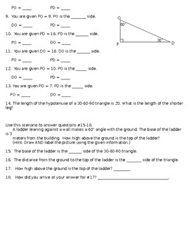 Special Right Triangles Practice Sheet