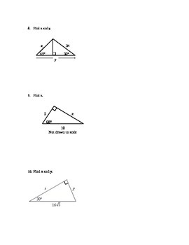 Special Right Triangles Quiz (harder)