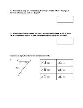 Special Right Triangles Test
