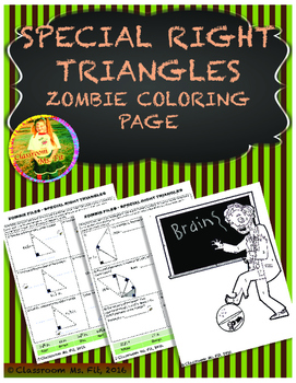 Special Right Triangles - Zombie Coloring Page
